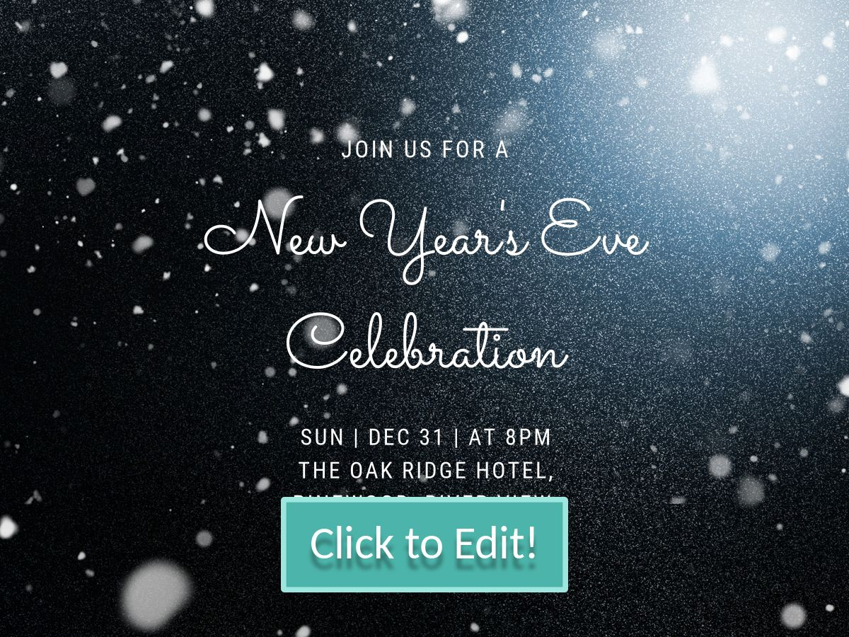 white bubble patterns on a bright personalizable new year party invitation for a facebook post with