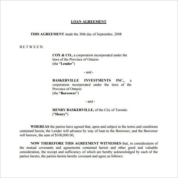 Free Loan Agreement Template , 26+ Great Loan Agreement Template - contract of loan sample