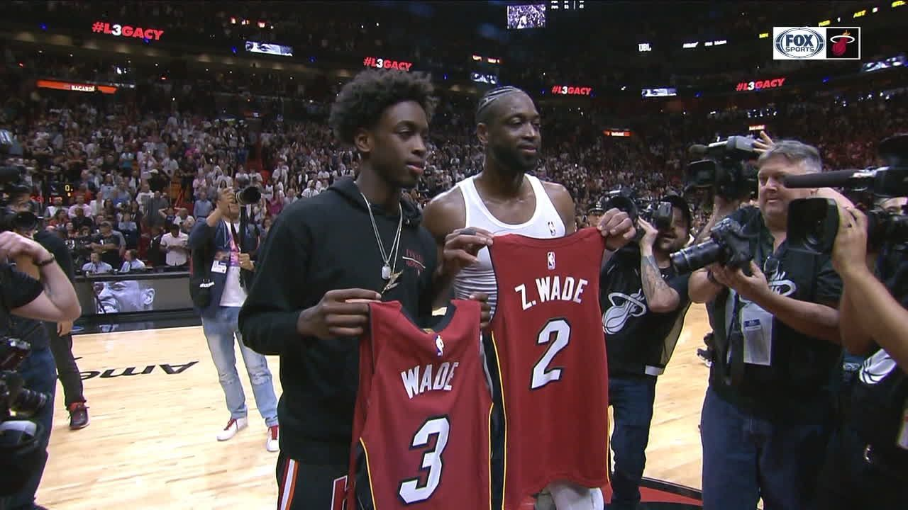 Wade Swaps Jerseys With His Son And Butler Espn Video Team Photos Espn Jersey