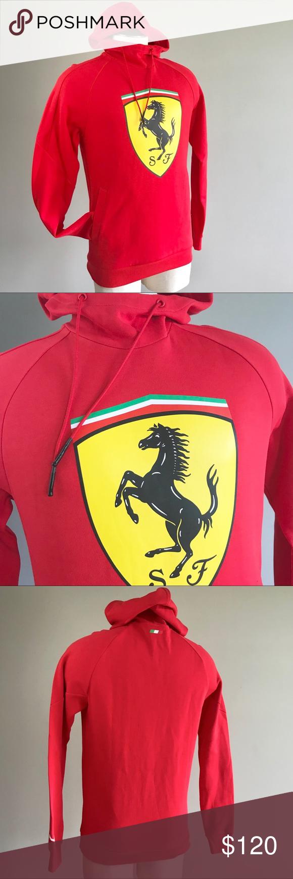 Puma Ferrari Men Red Big Shield Hoodie Sweatshirt Sweatshirts Hoodie Hoodies Puma Shirts