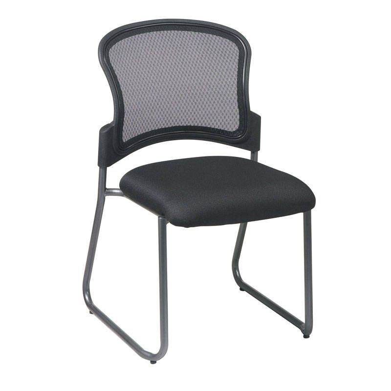 Office Star Titanium Finish Visitors Chair With Progrid Back And