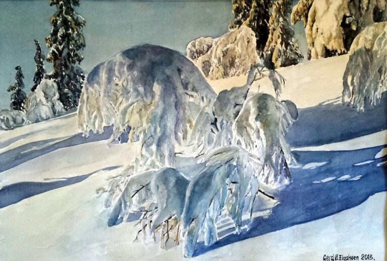 Watercolor. Gerd Østlie Elgshøen. Toppen er snart nådd. Nysnøen omdanner skogen til vakre portaler.