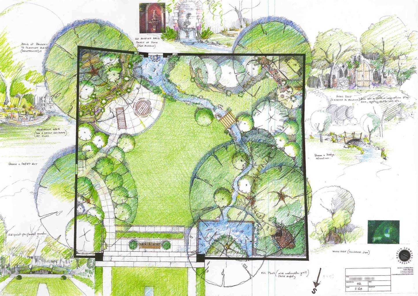 Good example of a formal rectangular lawn leading into a for Garden design sketches