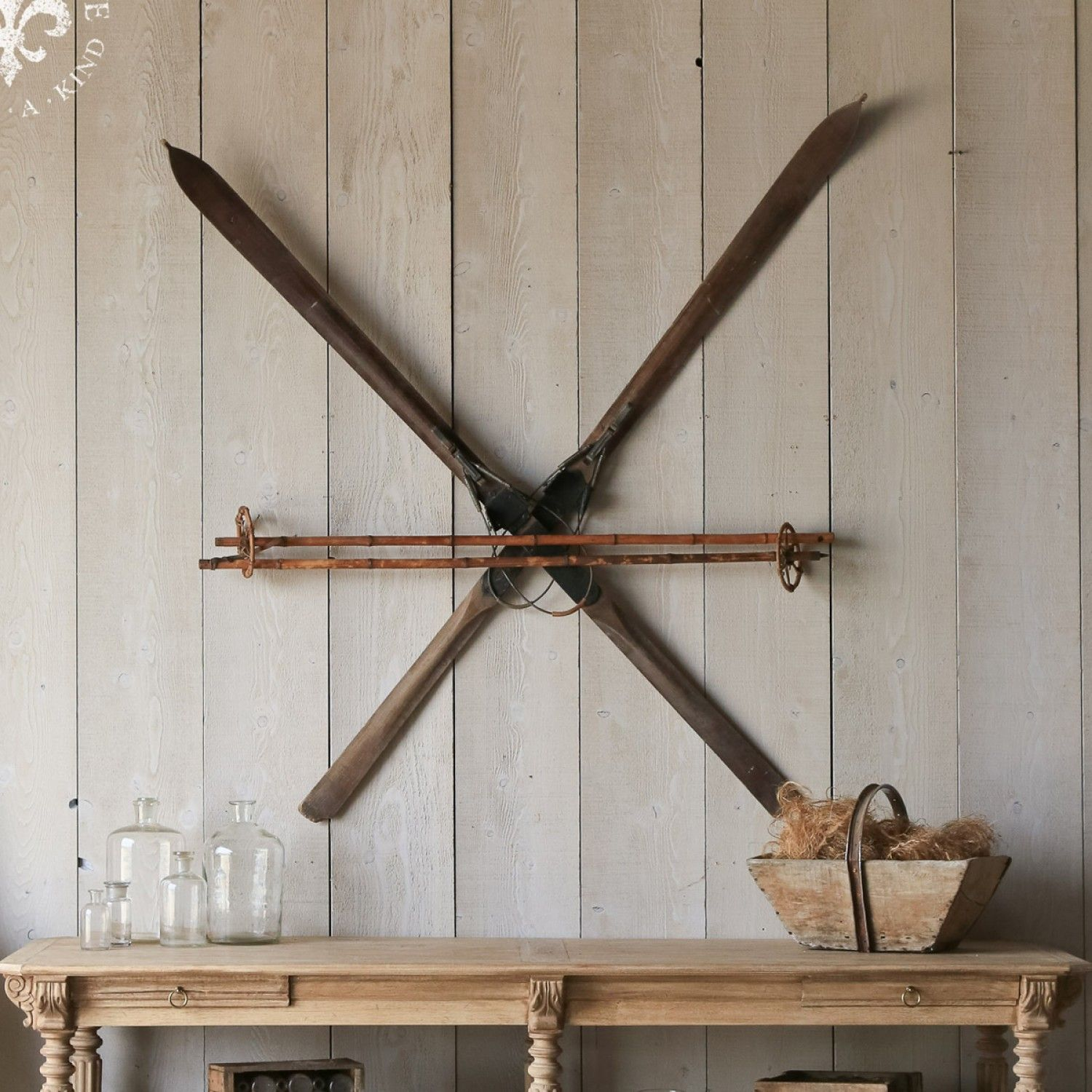 Antique Rustic Wooden Pair Of Skis Decor 600 00 Tllacottage Shabbychic Eloquence