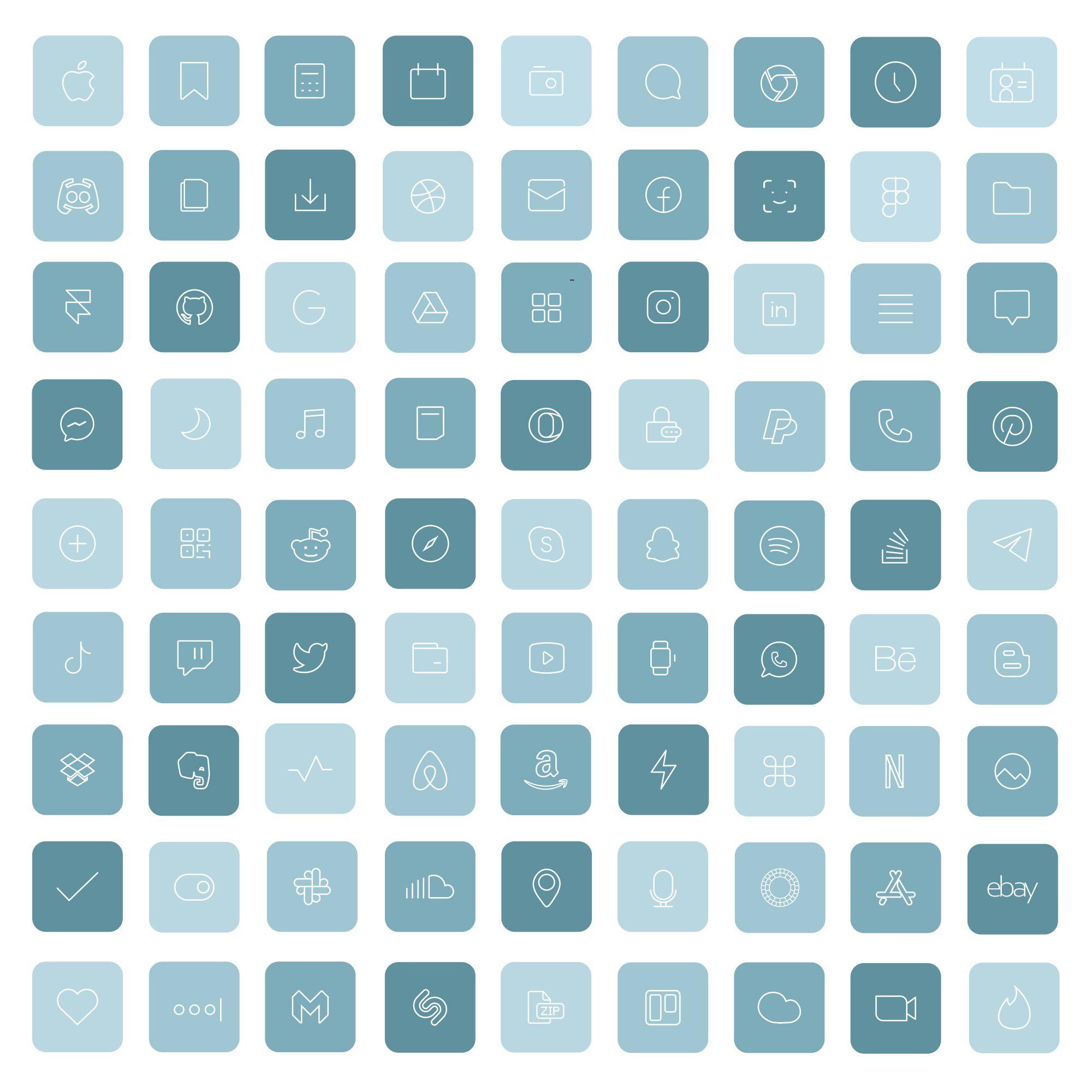 Sea iOS 14 App Icons Light Blue Widget  Aesthetic