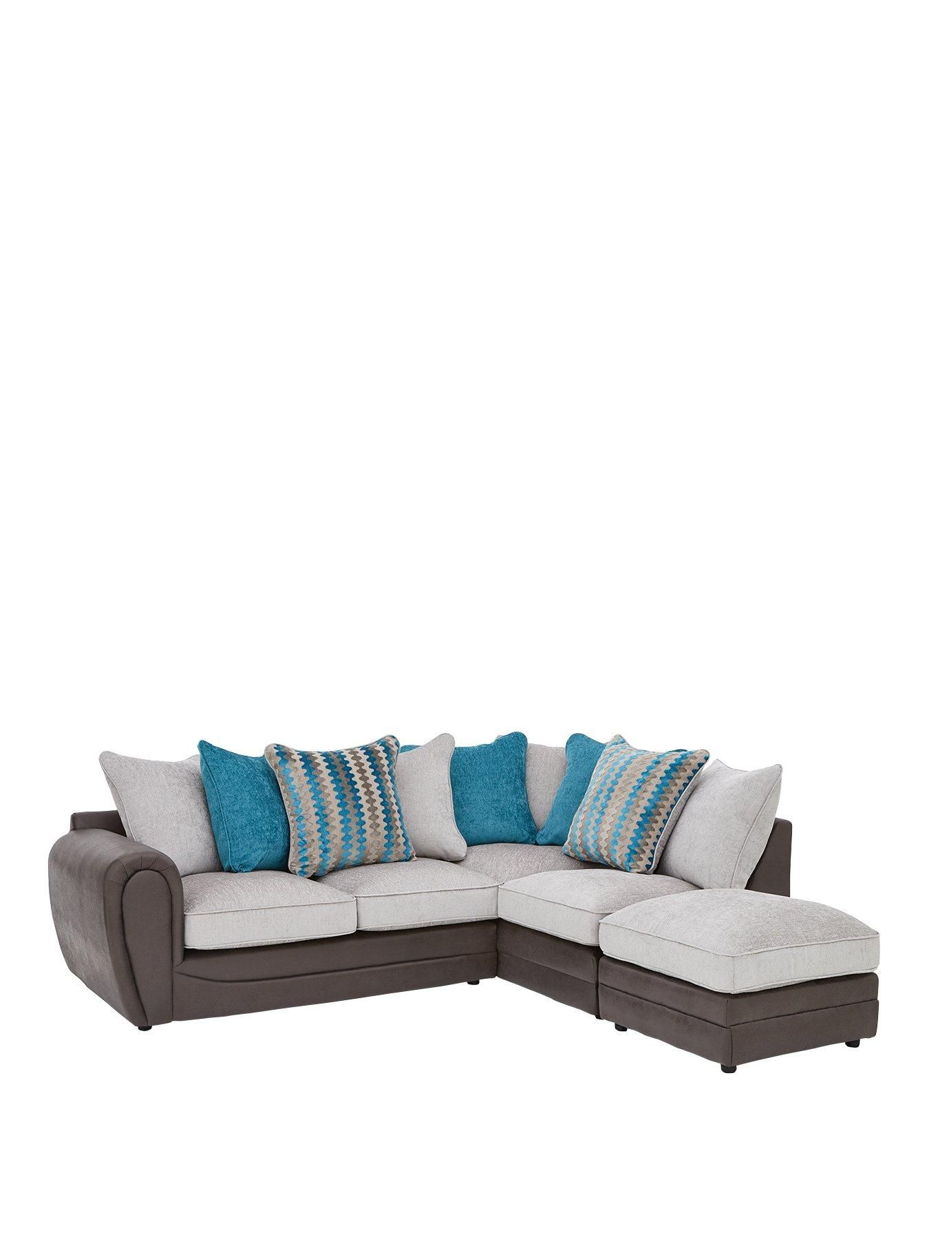 Calluna Fabric Right Hand Scatter Back Corner Chaise Sofa And Footstool In Black Grey Chaise Sofa Sofa New Furniture