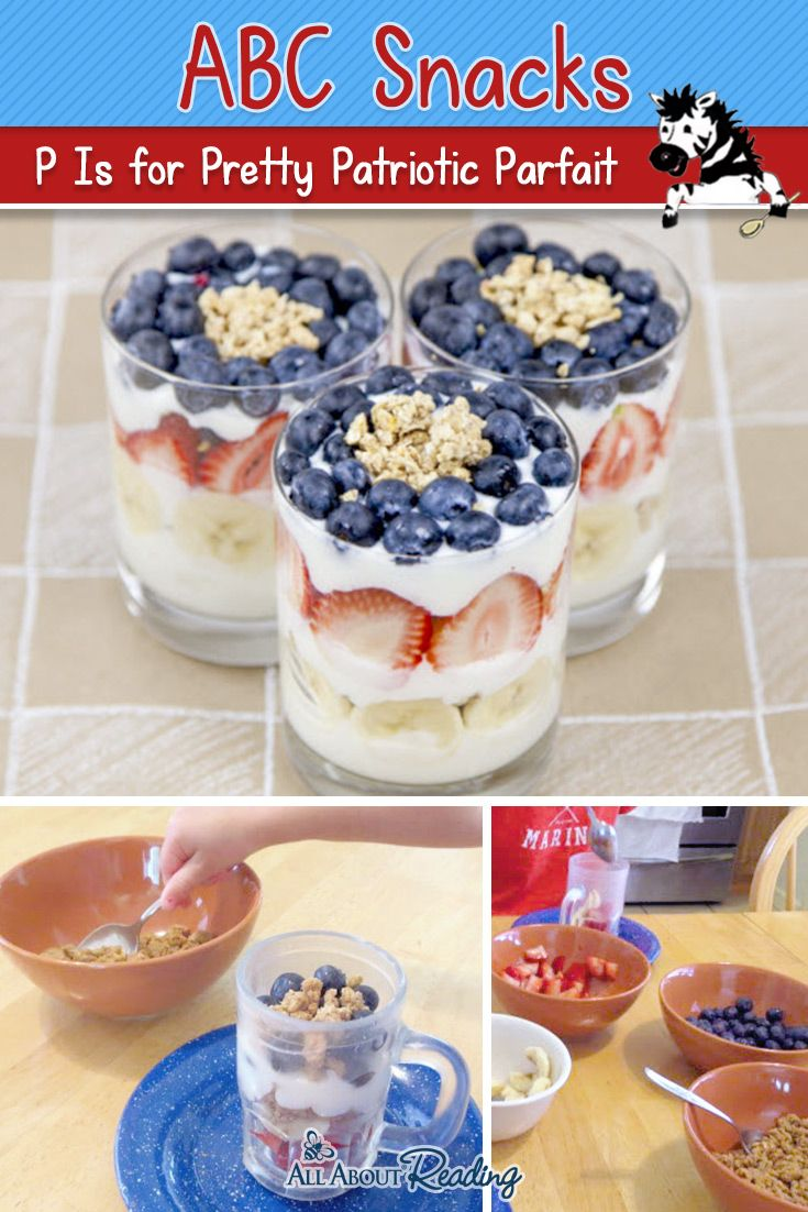 Looking for a Fourth of July ABC snack? These patriotic parfaits are perfect for your kids!