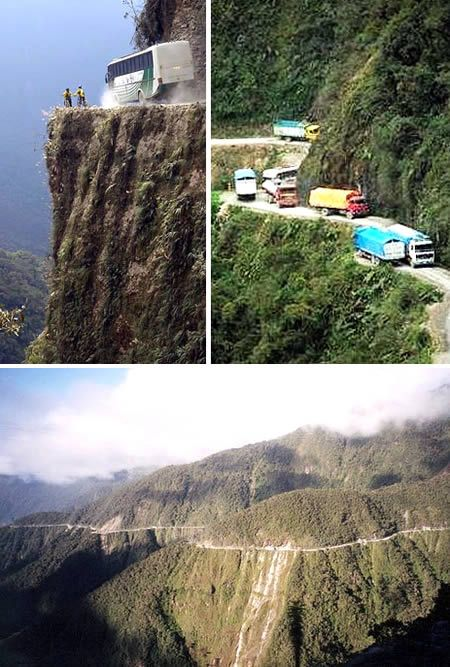 The Death Road (Bolivia)    The North Yungas Road, also known as The Death Road, is a 61 to 69 km road leading from La Paz to Coroico (Bolivia's capital, to the Amazon region) in the Yungas region of Bolivia. It is legendary for its extreme danger.