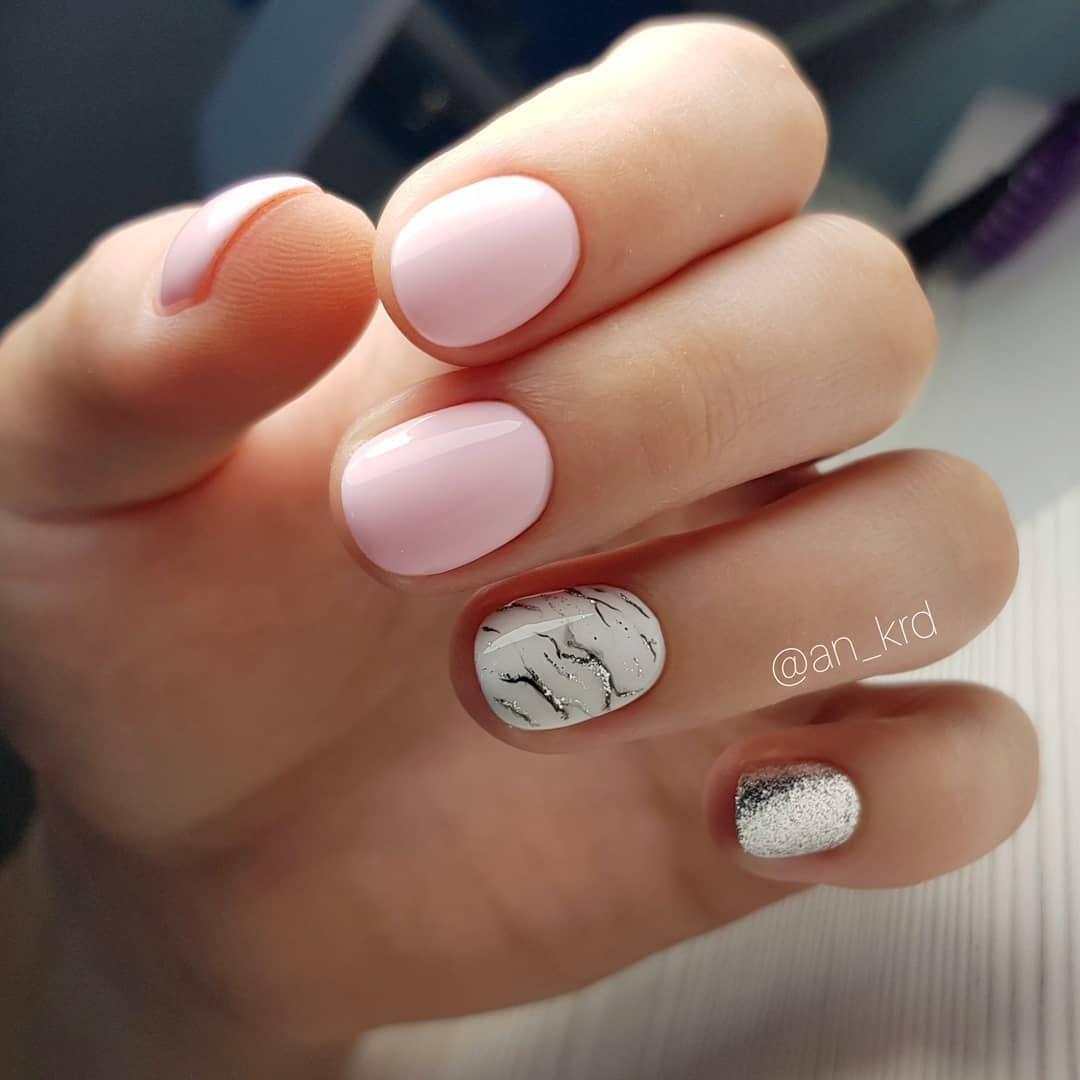 Marble matched blush nail art design