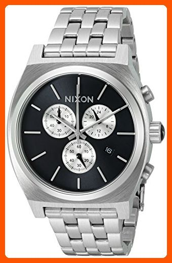 Nixon Men's 'Time Teller Chrono' Quartz Stainless Steel Casual Watch, Color:Silver-Toned (Model: A9722348-00) - Mens world (*Amazon Partner-Link)