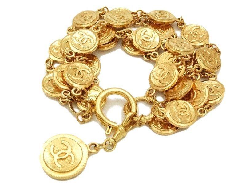 Authentic Vintage Chanel Cuff Bracelet Bangle Lot Of Gold Cc Medals Chanel Cuff Bracelet Chanel Cuff Vintage Chanel