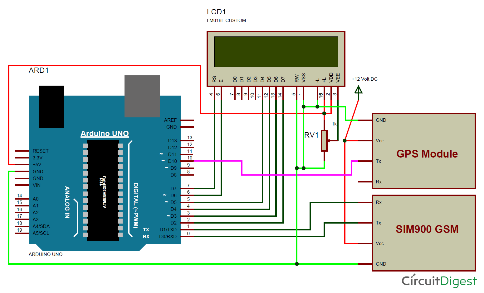 Arduino based Vehicle Tracker using GPS and GSM circuit diagram ...