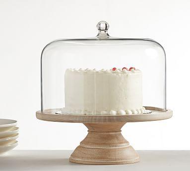Farmhouse Wood White Wash Cake Dome Wooden Cake Stands Cake Stand With Dome Cake Dome