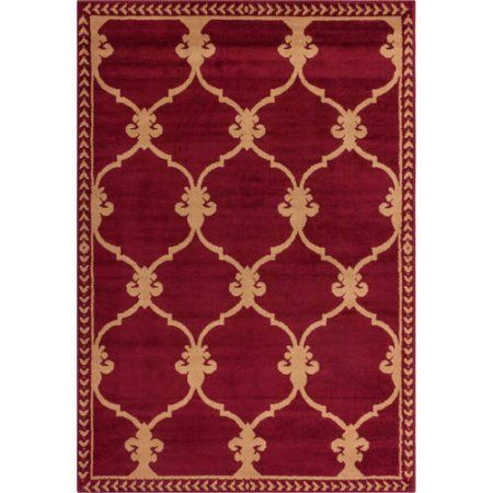 Well Woven Miami Esplanade Fleur De Lis Transitional Area Rug Red
