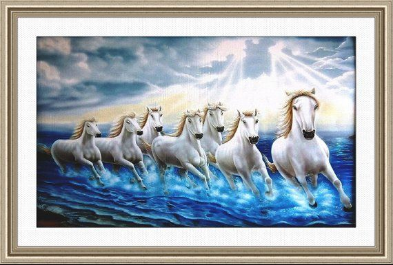 White Seven Horses Painting On Canvas With Frame Running In Water As Per Vastu Seven Horses Painting Horse Painting Painting