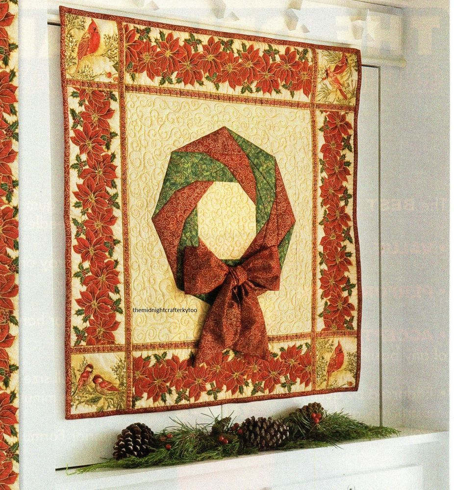 Spiral Holiday Wreath Quilt Pattern Pieced/Applique RM | Christmas ...