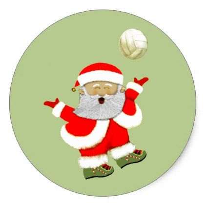 Volleyball Christmas Classic Round Sticker Xmas Christmaseve Christmas Eve Christmas Merry X Volleyball Christmas Christmas Craft Supplies Christmas Stickers