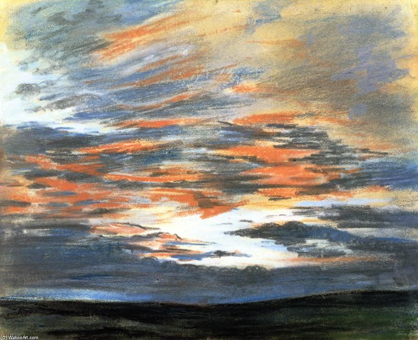 tude du ciel au coucher du soleil 2 dessin de eug ne delacroix 1798 1863 france. Black Bedroom Furniture Sets. Home Design Ideas