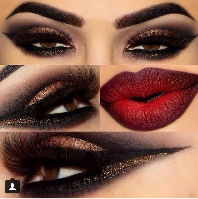 Dark Red Smokey Eye Make Up Glitter Makeup Dramatic Makeup