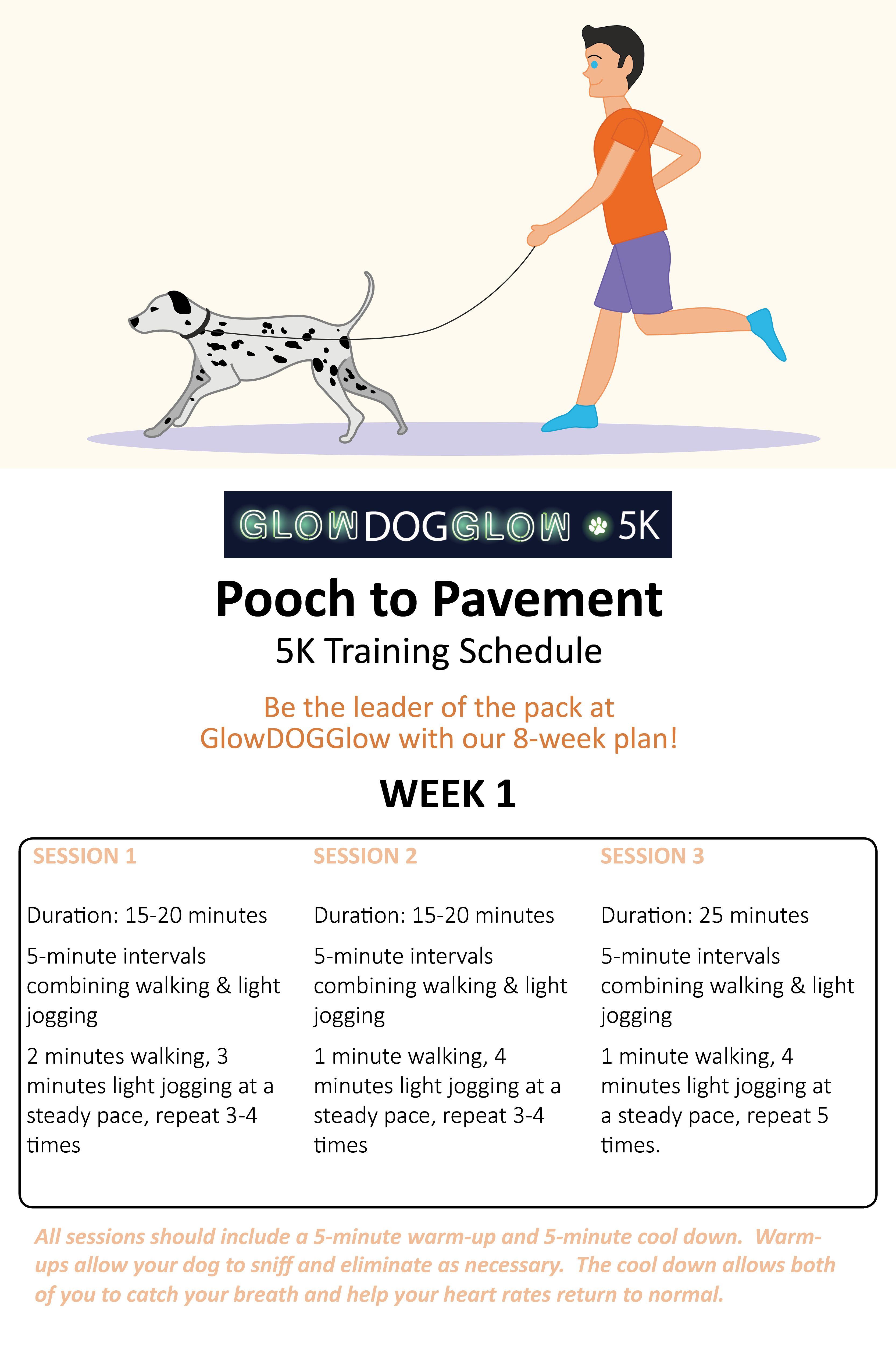 Pooch To Pavement 5k Training Schedule Week 1 Running Training