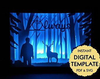 Template Harry Potter Patronus Paper Cut File Silhouette Light Box