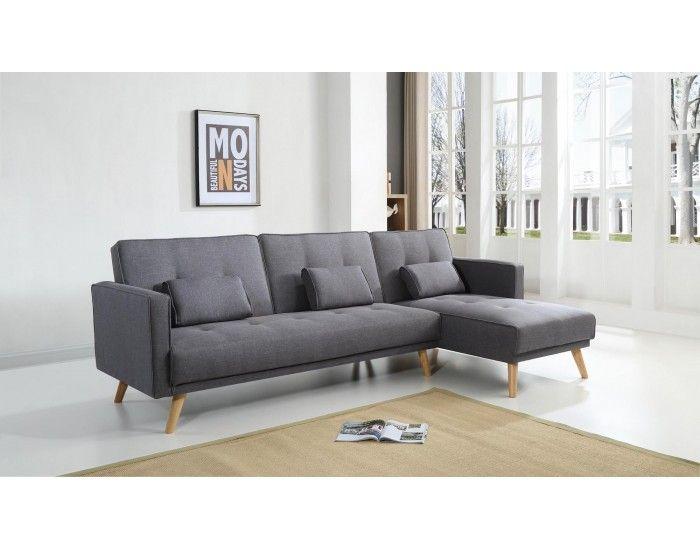 scandinave canap d 39 angle r versible convertible 267x151x88cm gris fonc salon. Black Bedroom Furniture Sets. Home Design Ideas