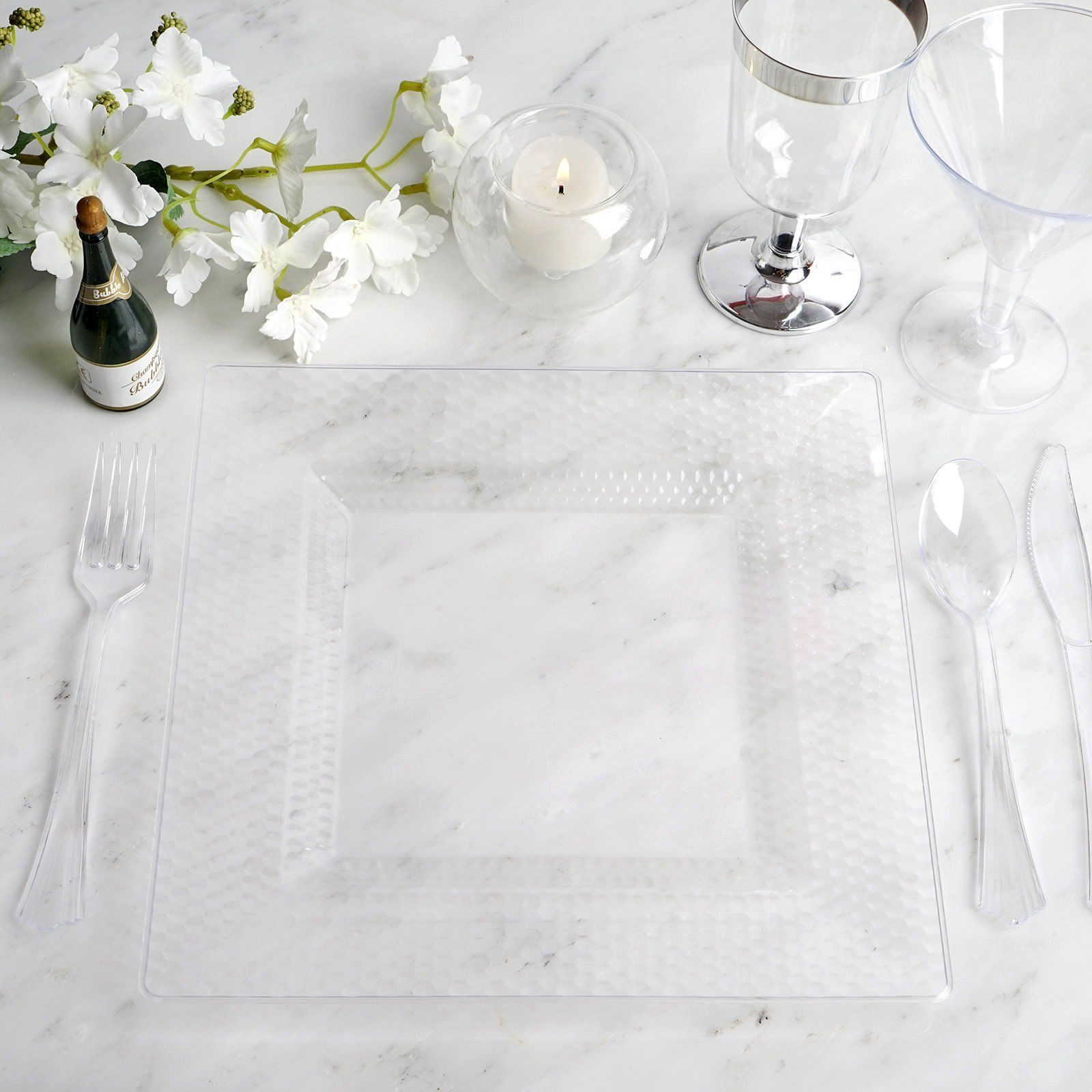 Set Of 10 10 Clear Disposable Plastic Square Dinner Plates With Honeycomb Edge In 2020 Elegant Plastic Dinnerware Clear Plastic Plates Plastic Dinnerware