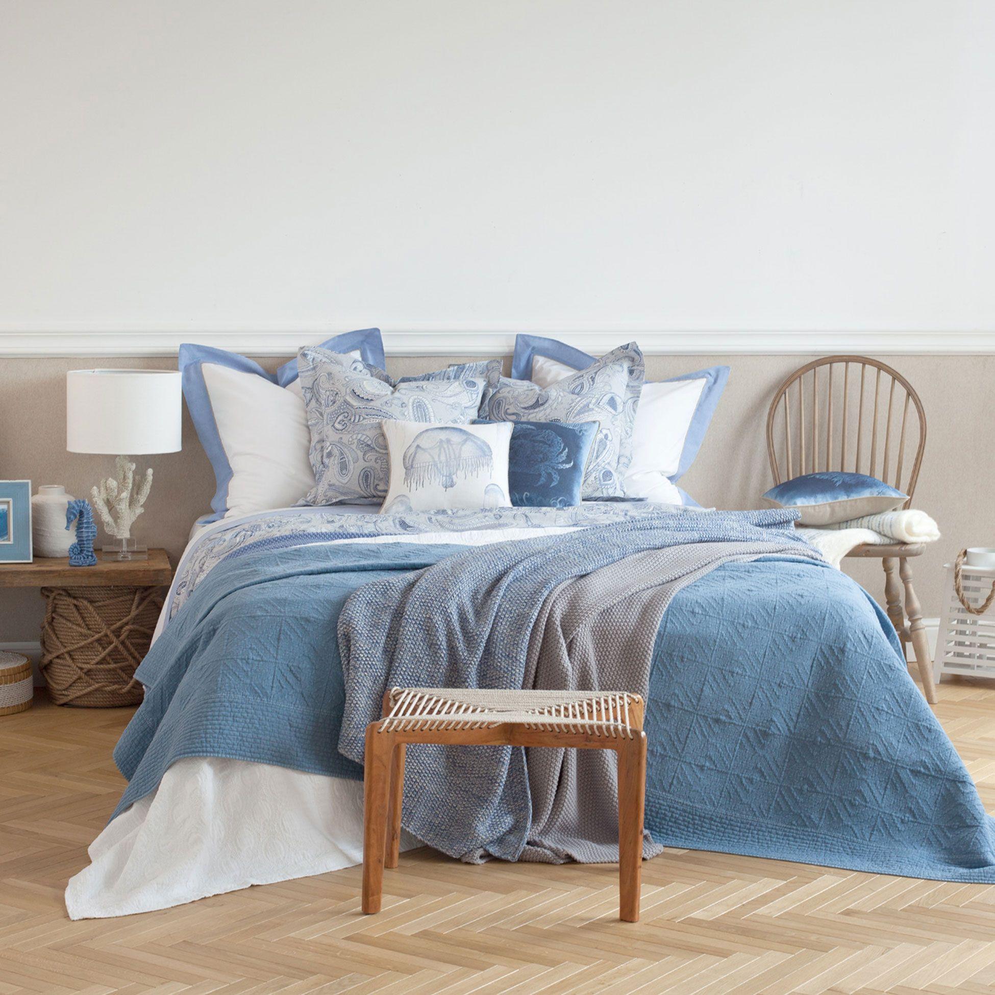 Manta algod o gr ozinhos azul e branco mantas cama for Zara home mantas