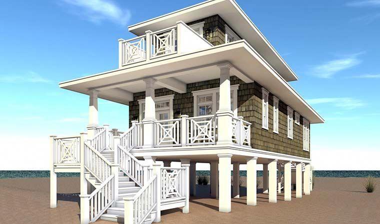 Bungalow Coastal Craftsman House Plan 70839 Rear Elevation Beachcottages