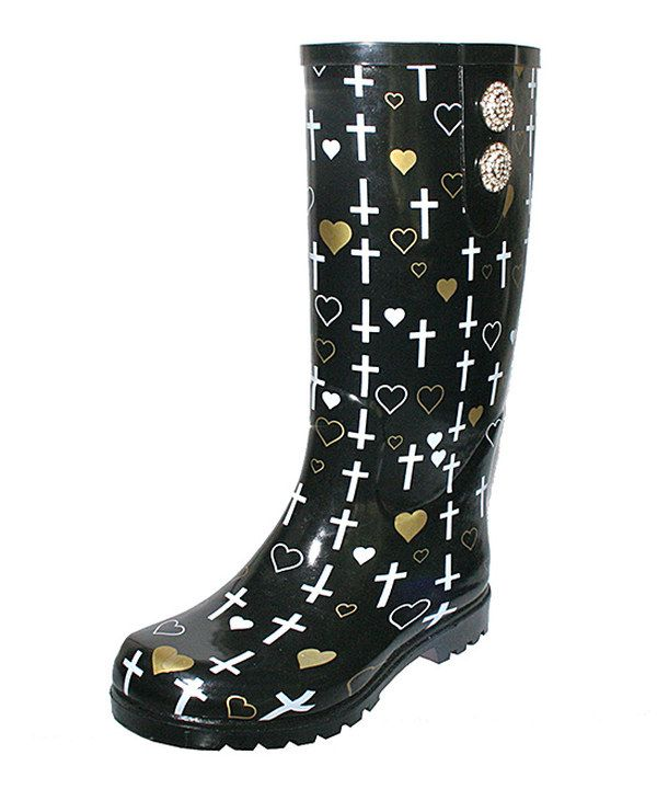 Another great find on #zulily! Black & Gold Crosses Puddles II Rain Boot by Nomad Footwear #zulilyfinds
