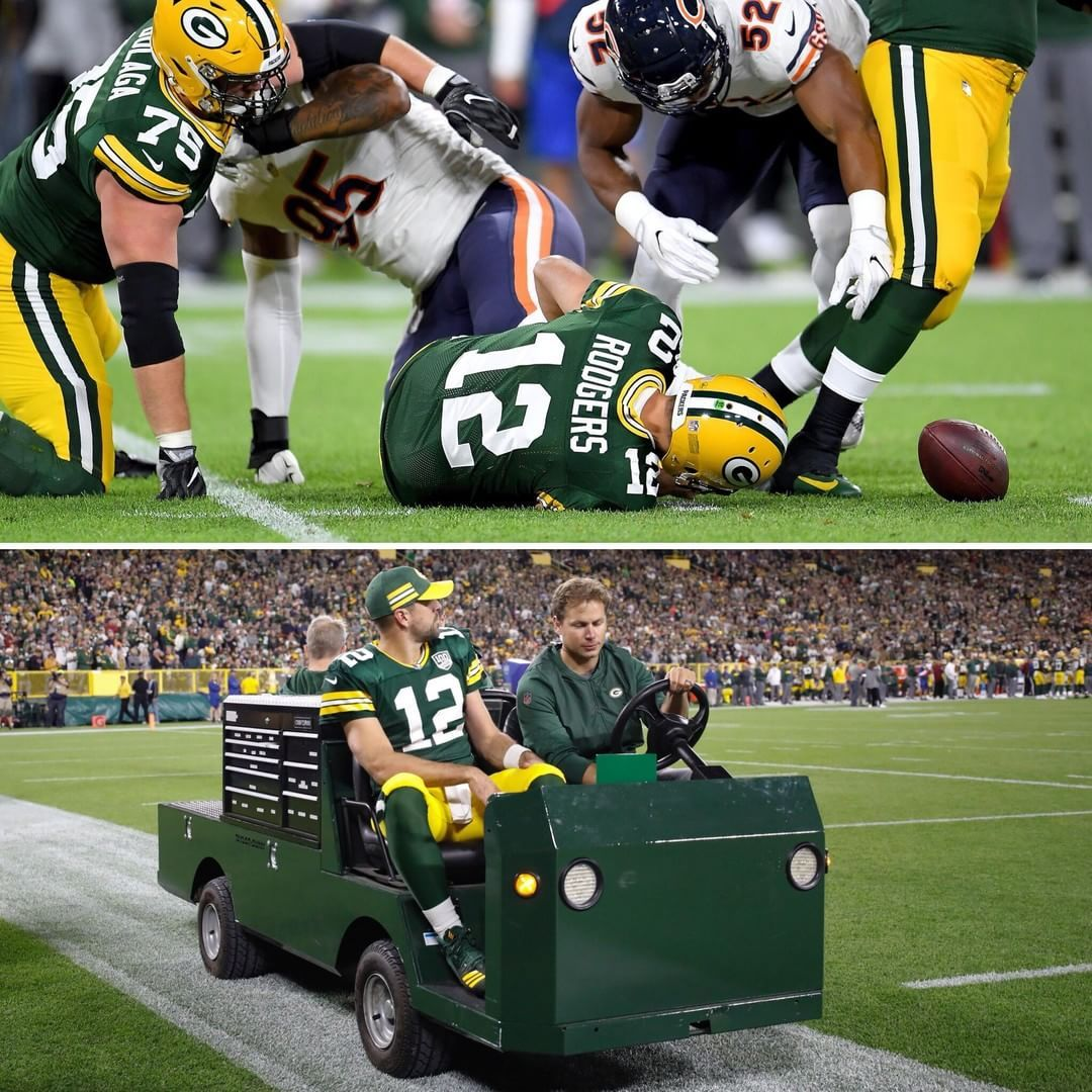 Aaron Rodgers Was Visibly Upset As He Was Carted Off The Field In Green Bay With An Apparent Left Leg Injury Leg Injury Monster Trucks Green Bay