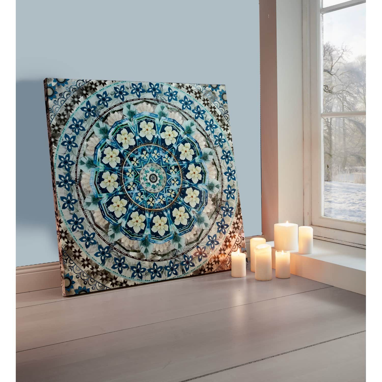 bild blue mandala  leinwand wandbilder gerahmte kunstdrucke