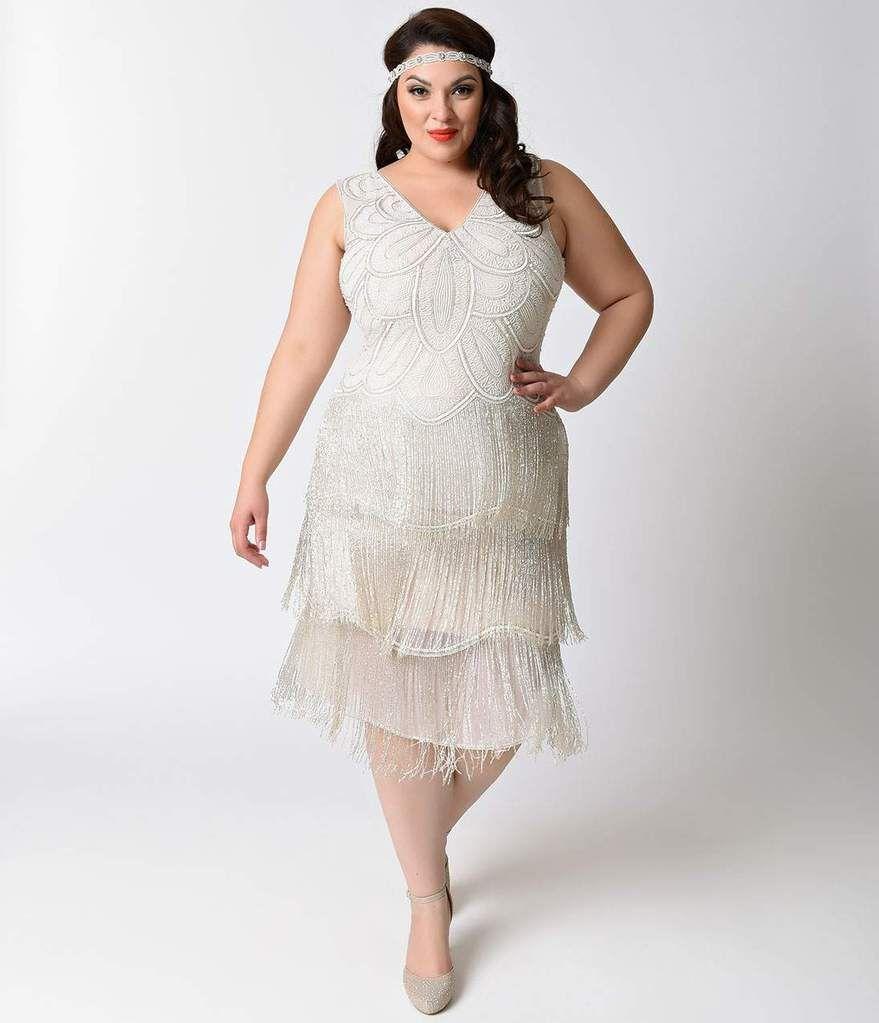 Plus Size White Beaded Gigi Chiffon Fringe Flapper Dress ...