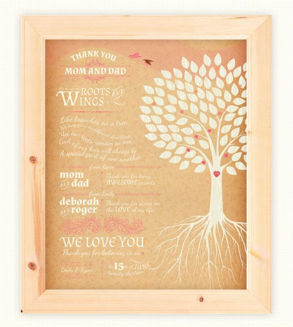 Parent Wedding Gifts Thank You: Parents Thank You Prints, Set Of 2 Custom Wedding Day