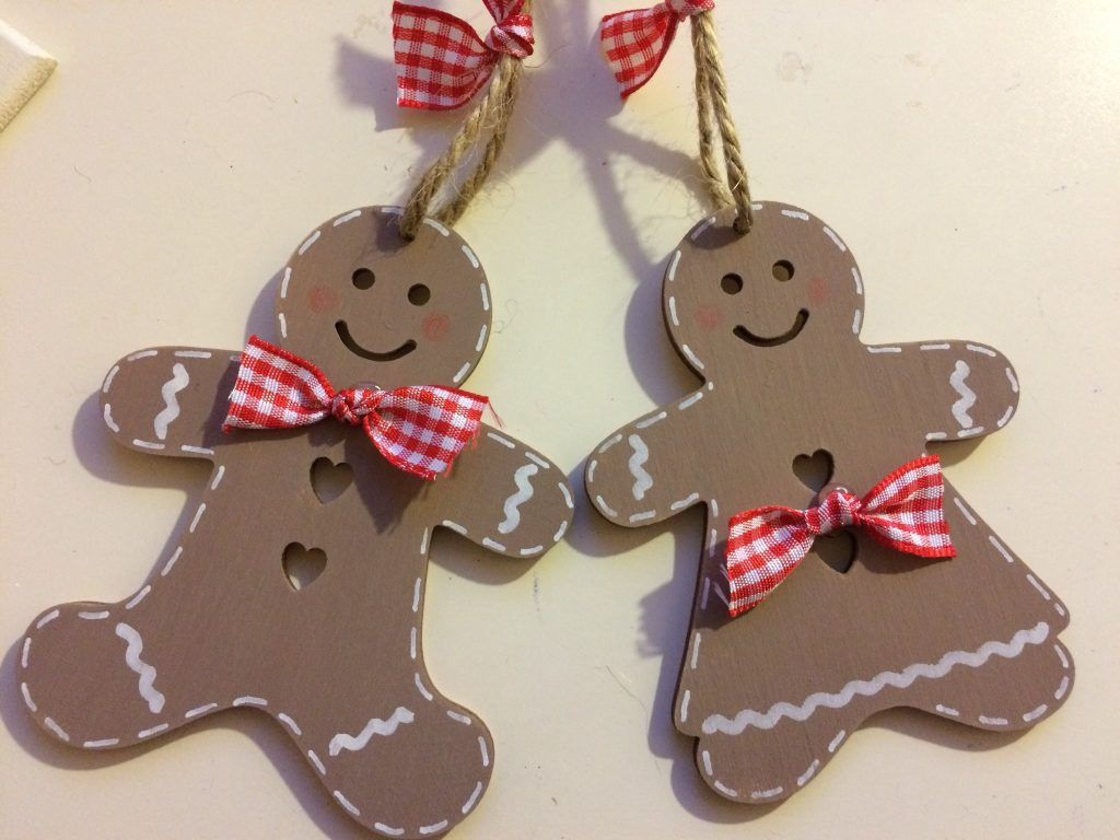 Wooden Gingerbread Manwoman Christmas Tree Decoration Personalised