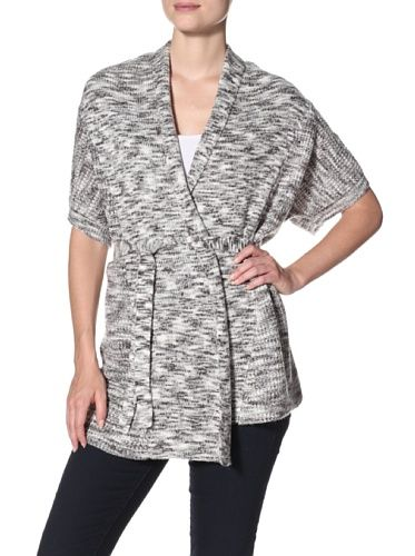 ASH RAIN   OAK Women's Short Sleeve Belted Cardigan (Grey Spaced ...
