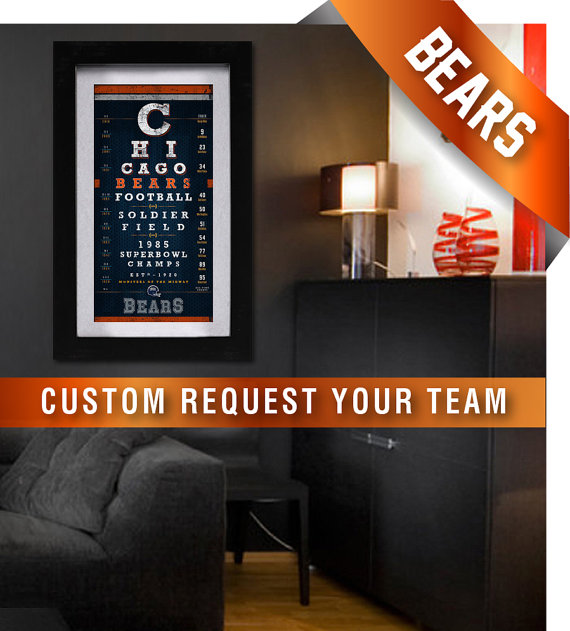 Chicago Bears 1985 Super Bowl Eye Chart Midnight By