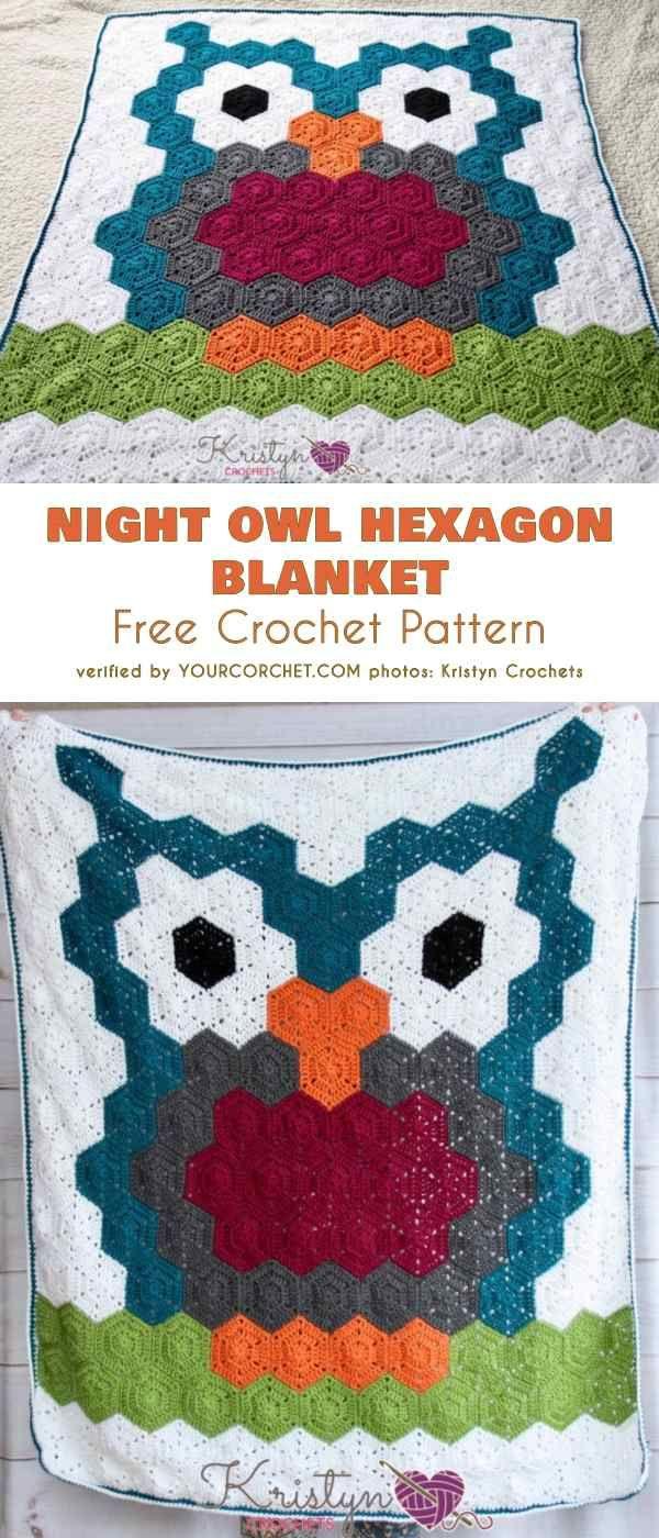 019c39c6ec20 Night Owl Hexagon Blanket Free Crochet Pattern