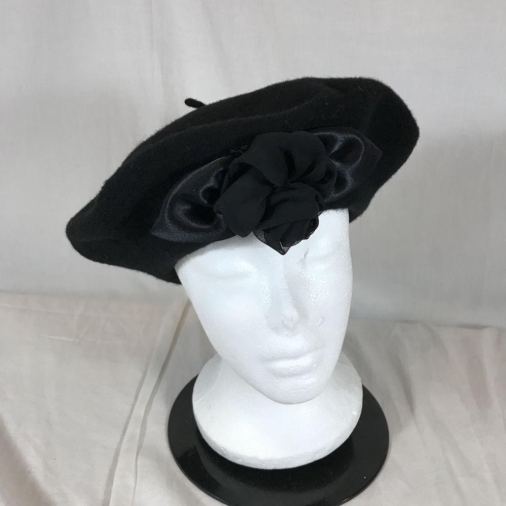 Vintage Black Wool Rose Adorned Beret South Africa One Size Winter Hat Art  Deco  Unbranded  Beret  Everyday 0ad8739c2de