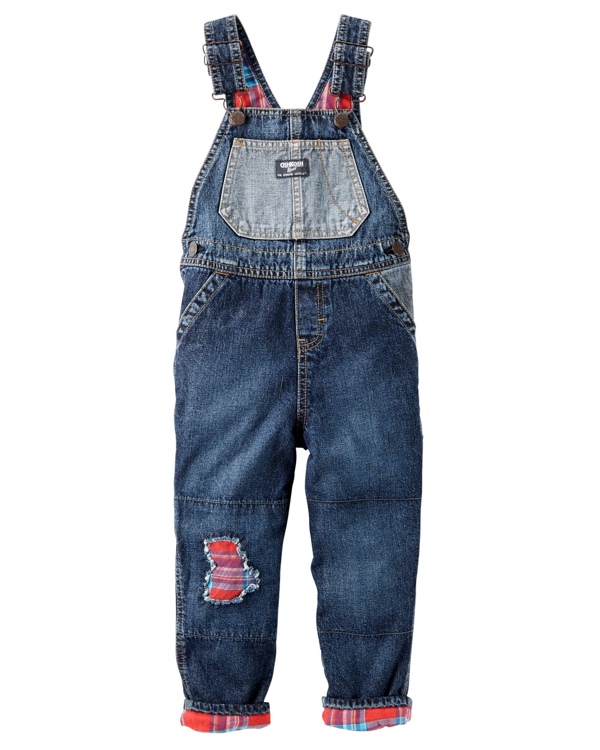50c20bfb1 Toddler Boy Flannel-Lined Rip-&-Repair Denim Overalls | OshKosh.com ...