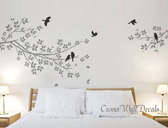 Vinyl wall decals grey branch wall sticker birds nursery wall decal children wall vinyl decal parts branch with birds by cuma