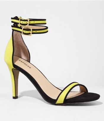 PIPED DOUBLE ANKLE STRAP HEELED SANDAL | Express