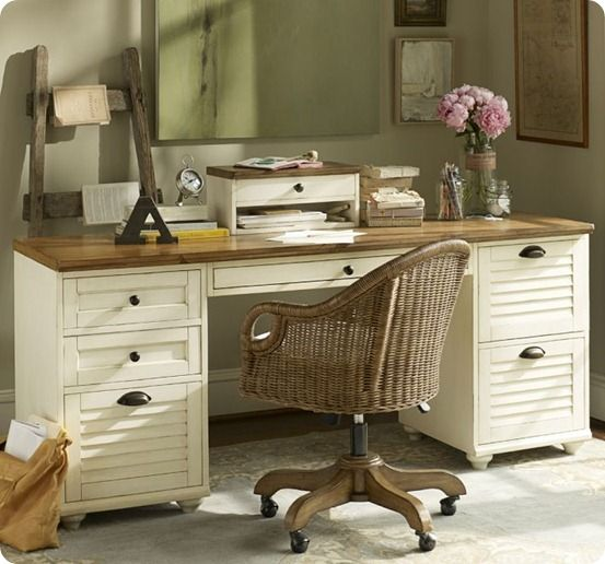 White Desk With Wood Top Home Office Desks Furniture Painted Desk