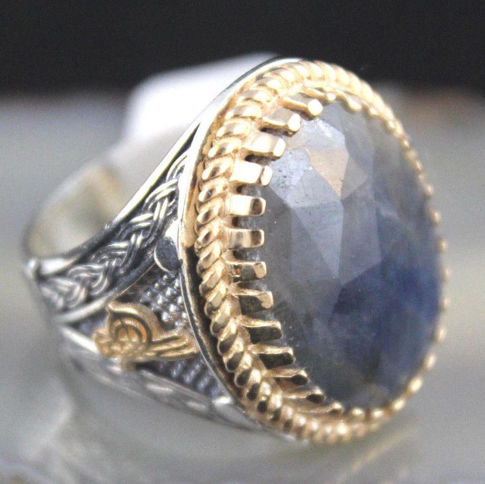 Special Ottoman Turkish Handmade 925 K Sterling Silver Sapphire Stone Men's Ring #Handmade #Statement