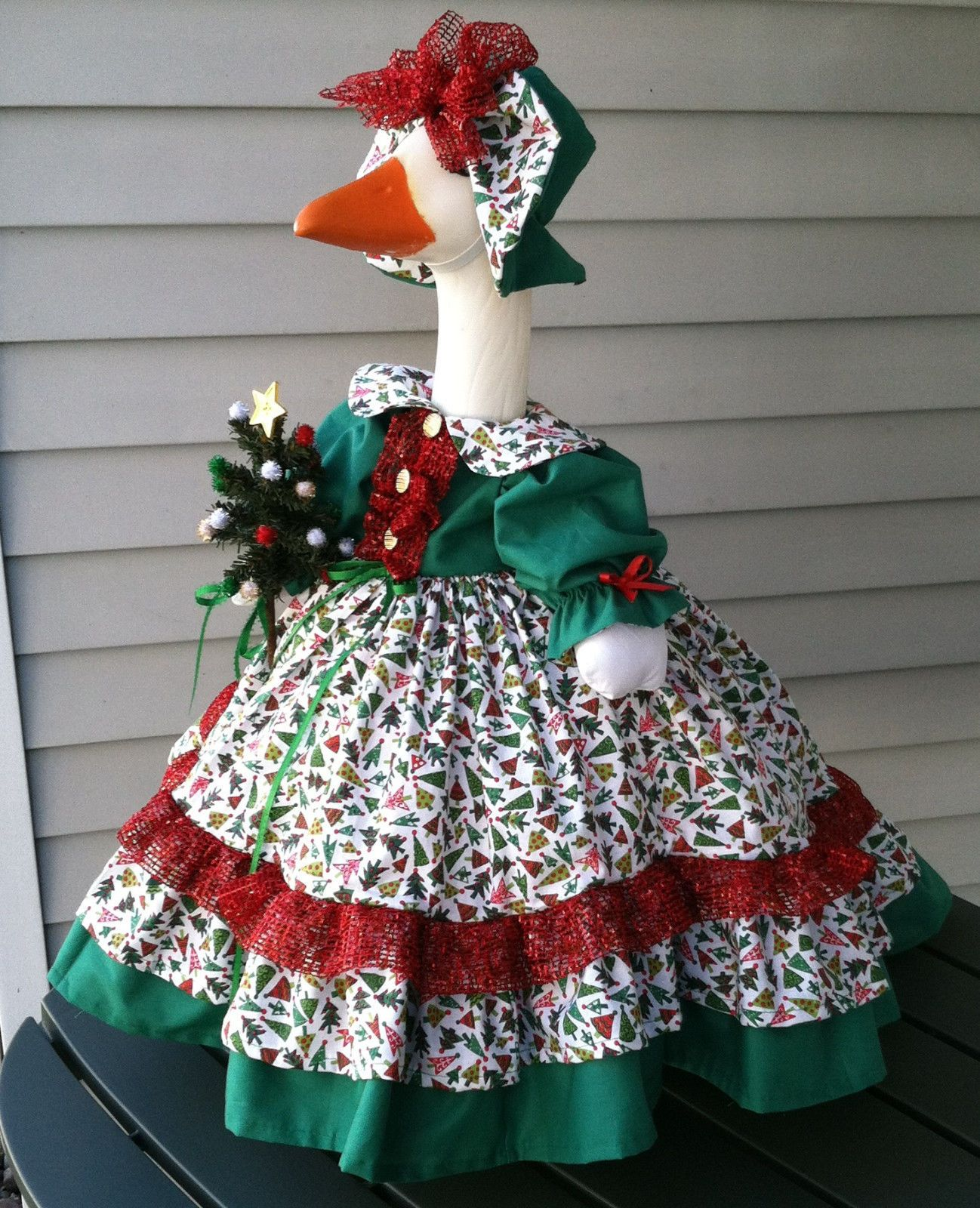Goose Not Included The Skirt Collar And Top Ruffle On The Bottom Of The Skirt Were Made From A Cotton Fab Goose Clothes Christmas Tree Outfit Goose Costume