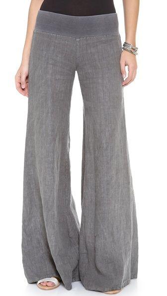 Linen Wide Leg Pants - Enza Costa - an airy, summer-ready feel in woven linen. Ribbed jersey waistband