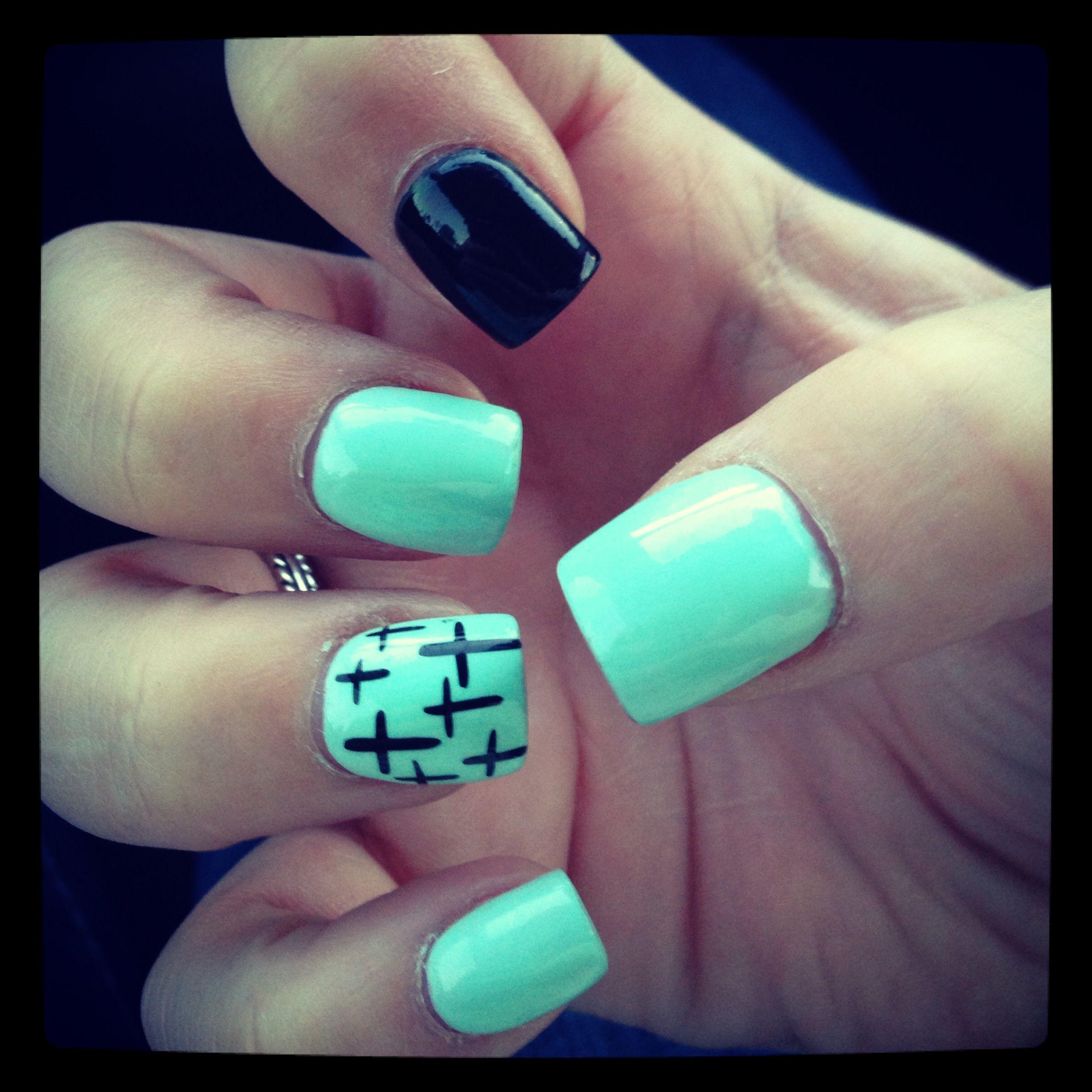 I Love My Nails Mint Nails Crosses Easy Nail Art