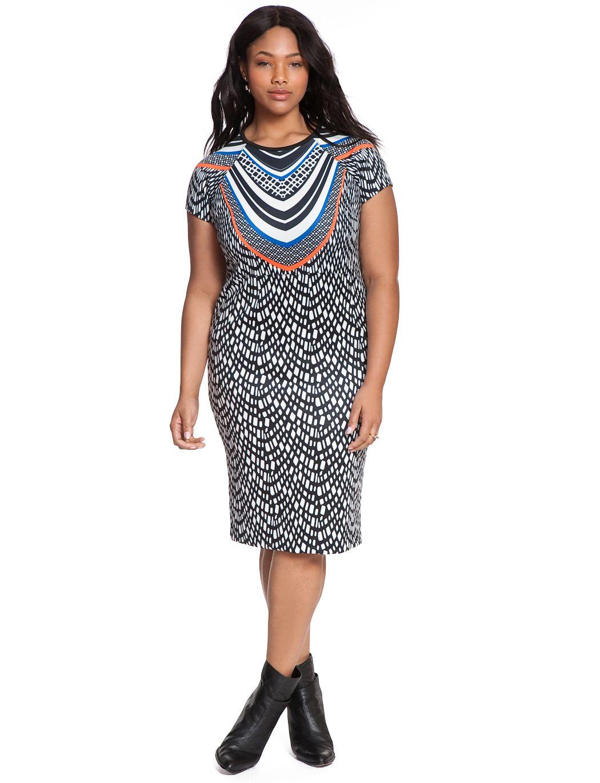 Printed scuba dress womenus plus size dresses eloquii curvy