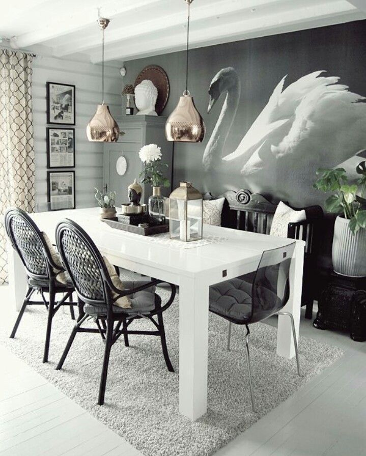 Great Black and White Dining Room by Hilde Pernille Opseth