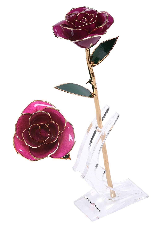 Durarose everlasting long stem purple rose dipped in 24k